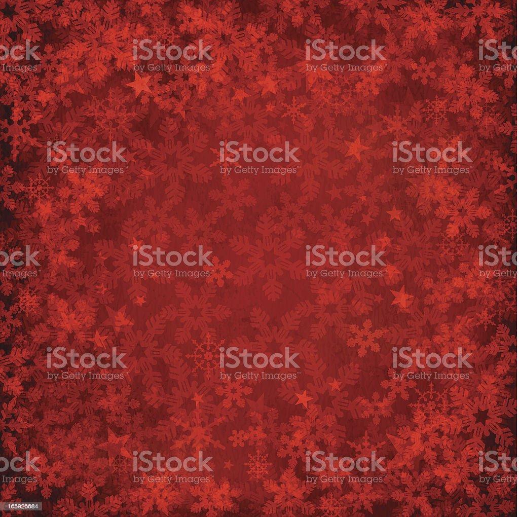 Red-filtered snowflake background vector art illustration
