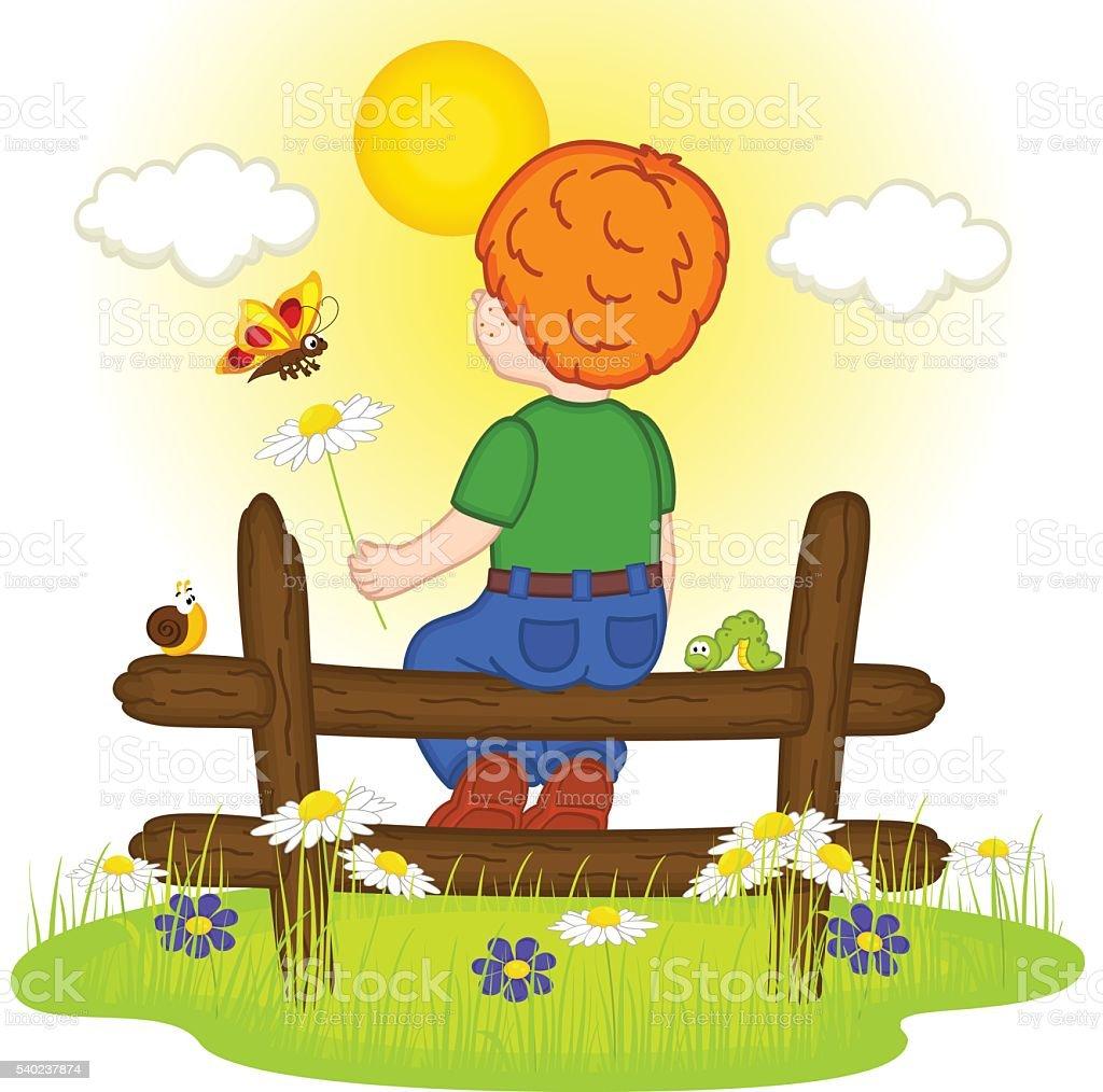 redhead boy looks at sunset vector art illustration
