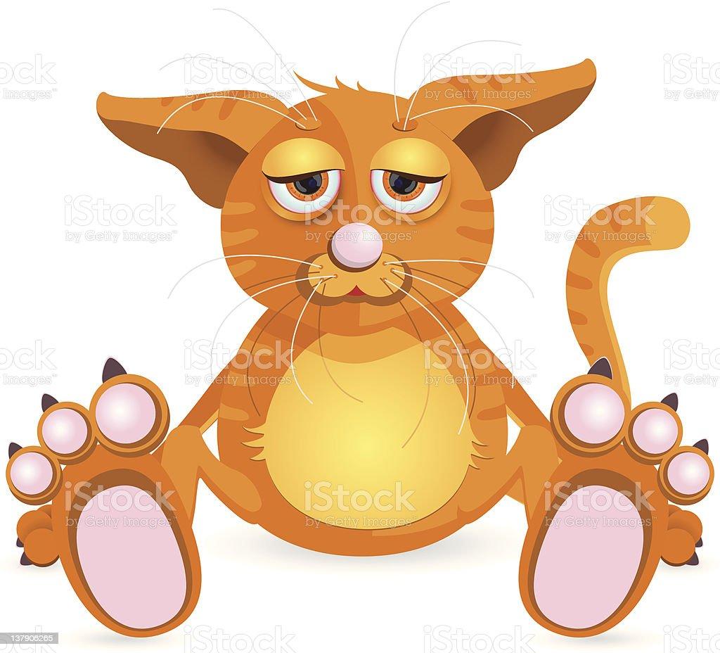 illustration, sitting redhead cat with sad eye