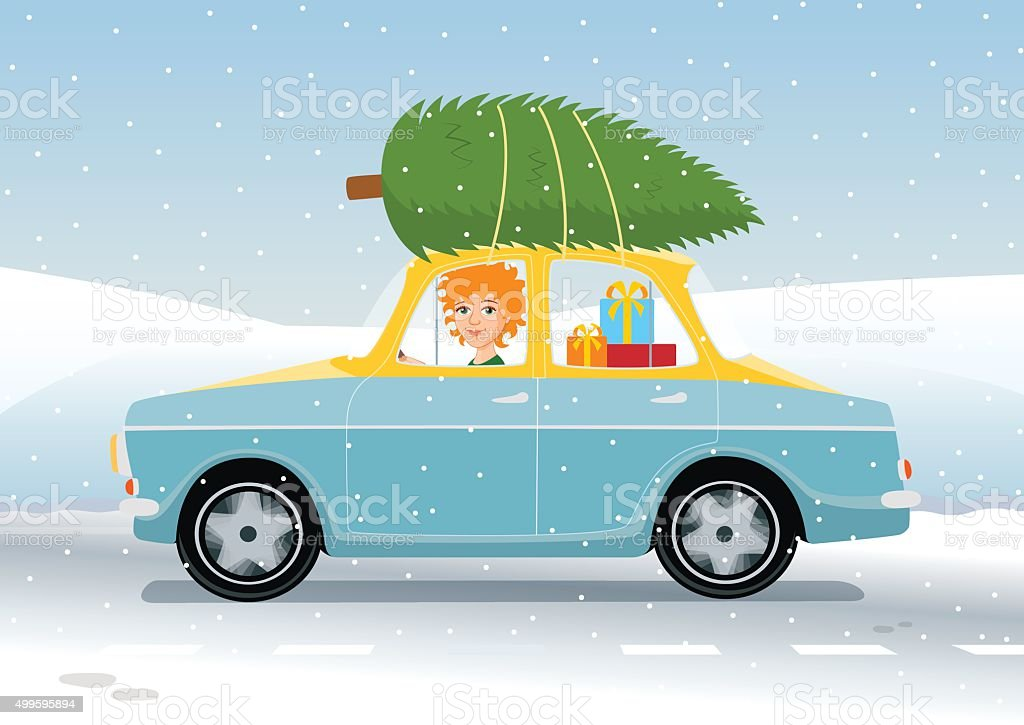 redhead girl driving Christmas vector art illustration