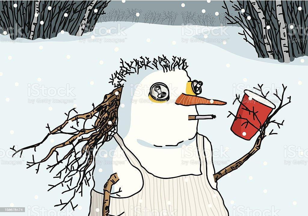 Redneck Snowman vector art illustration