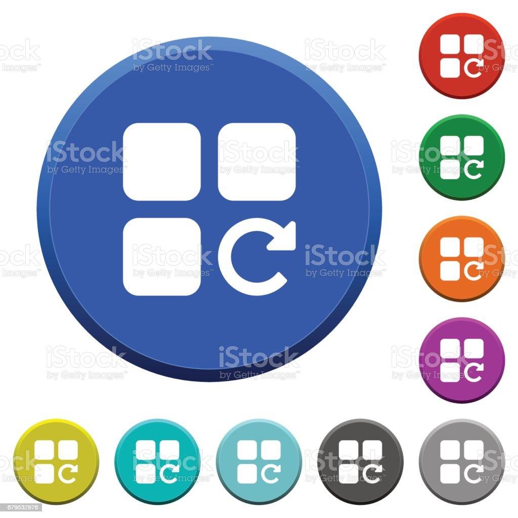 Redo component operation beveled buttons vector art illustration