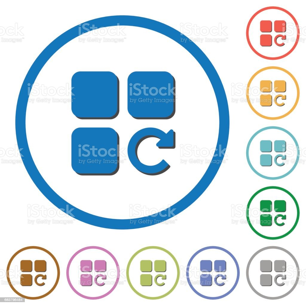 Redo component operation icons with shadows and outlines vector art illustration