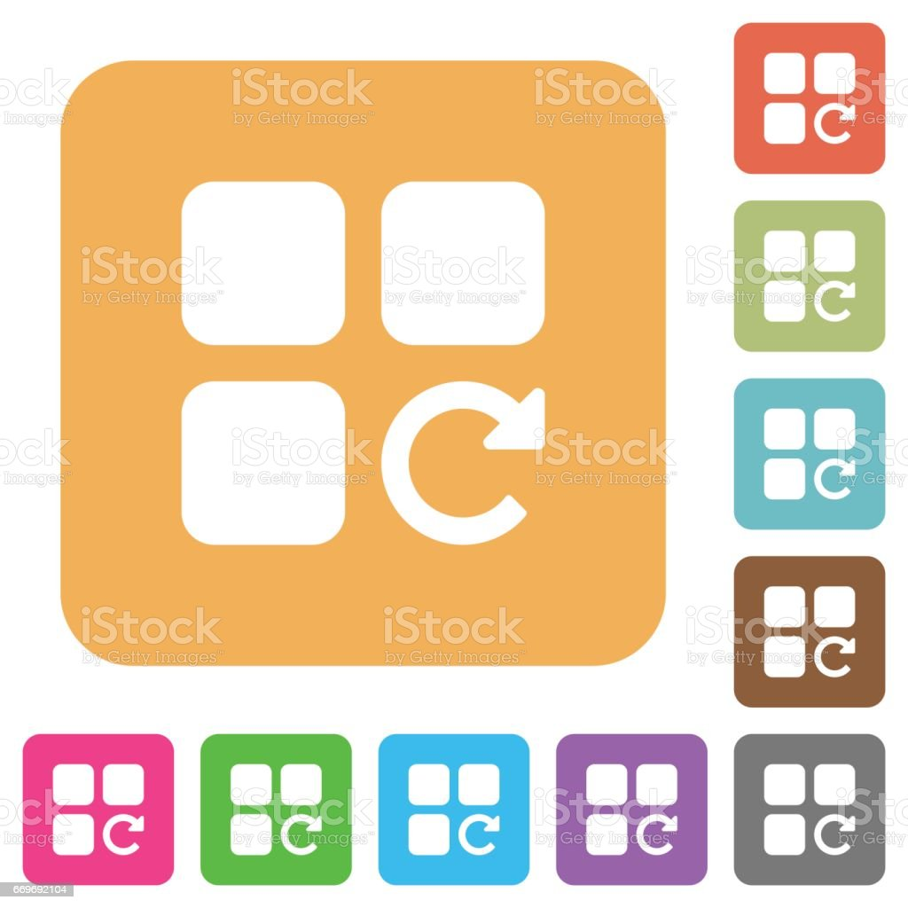Redo component operation rounded square flat icons vector art illustration