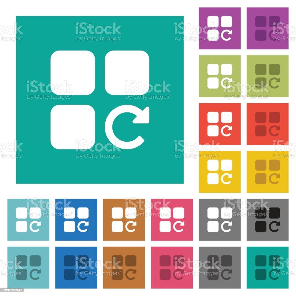 Redo component operation square flat multi colored icons vector art illustration