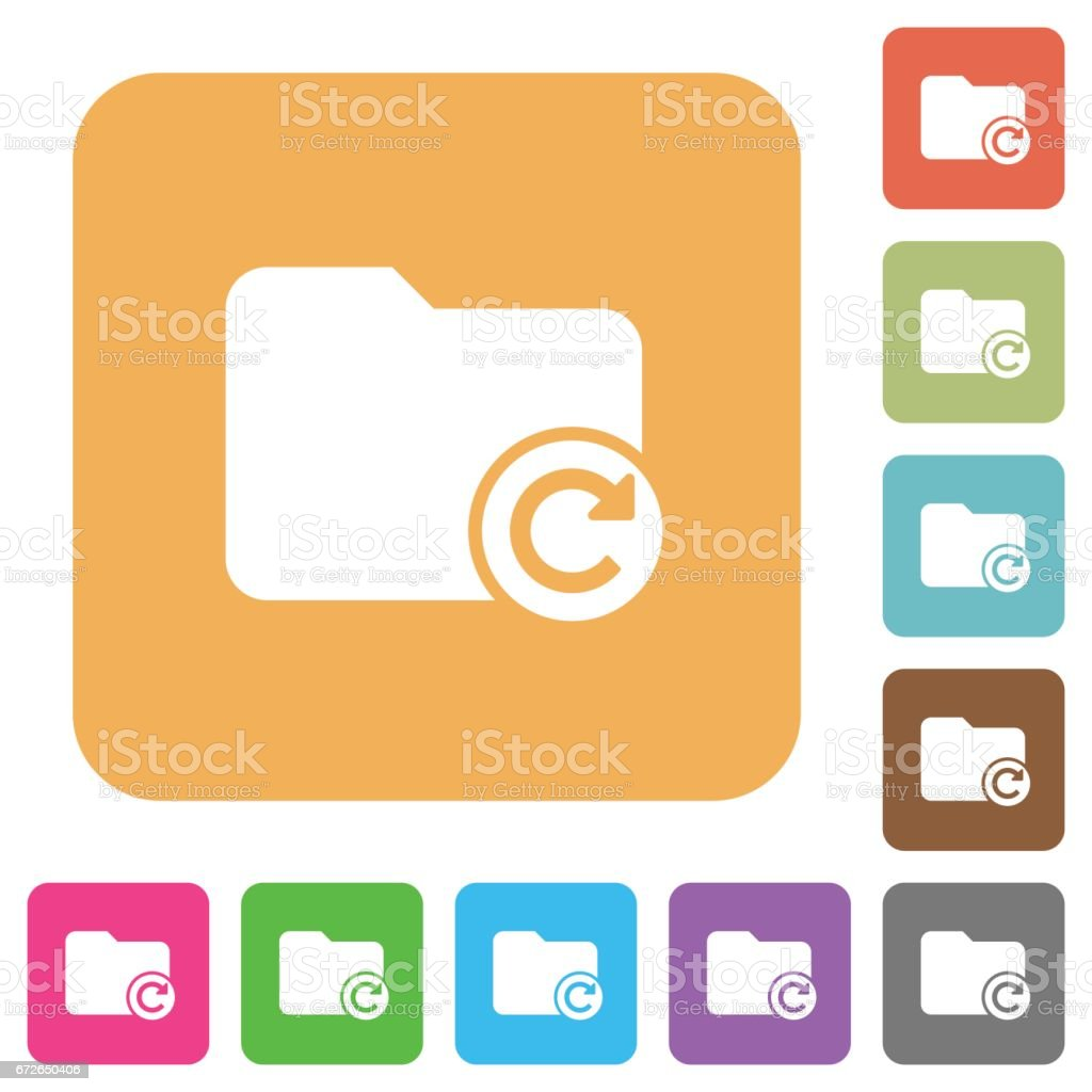 Redo directory last operation rounded square flat icons vector art illustration