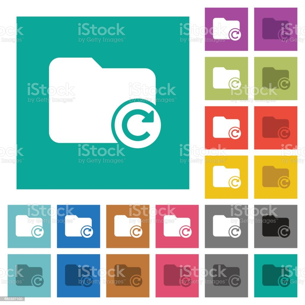 Redo directory last operation square flat multi colored icons vector art illustration
