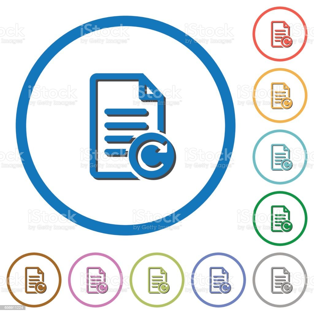 Redo document changes icons with shadows and outlines vector art illustration