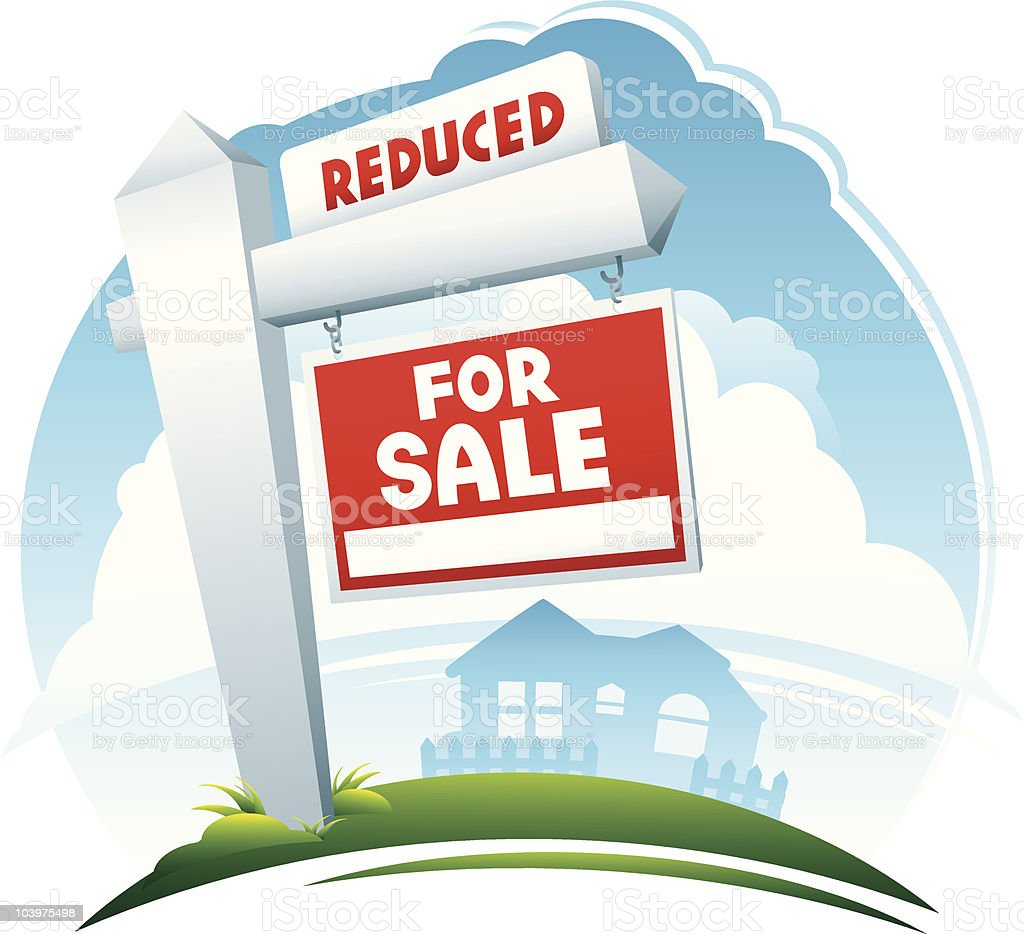 Reduce Price Real Estate Sign royalty-free stock vector art