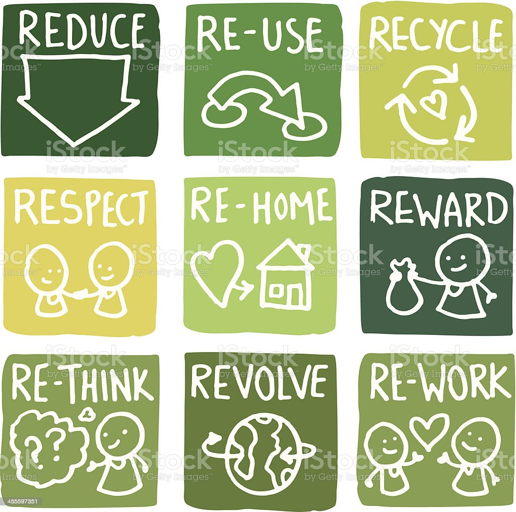 Reduce, reuse and recycle block icon set vector art illustration