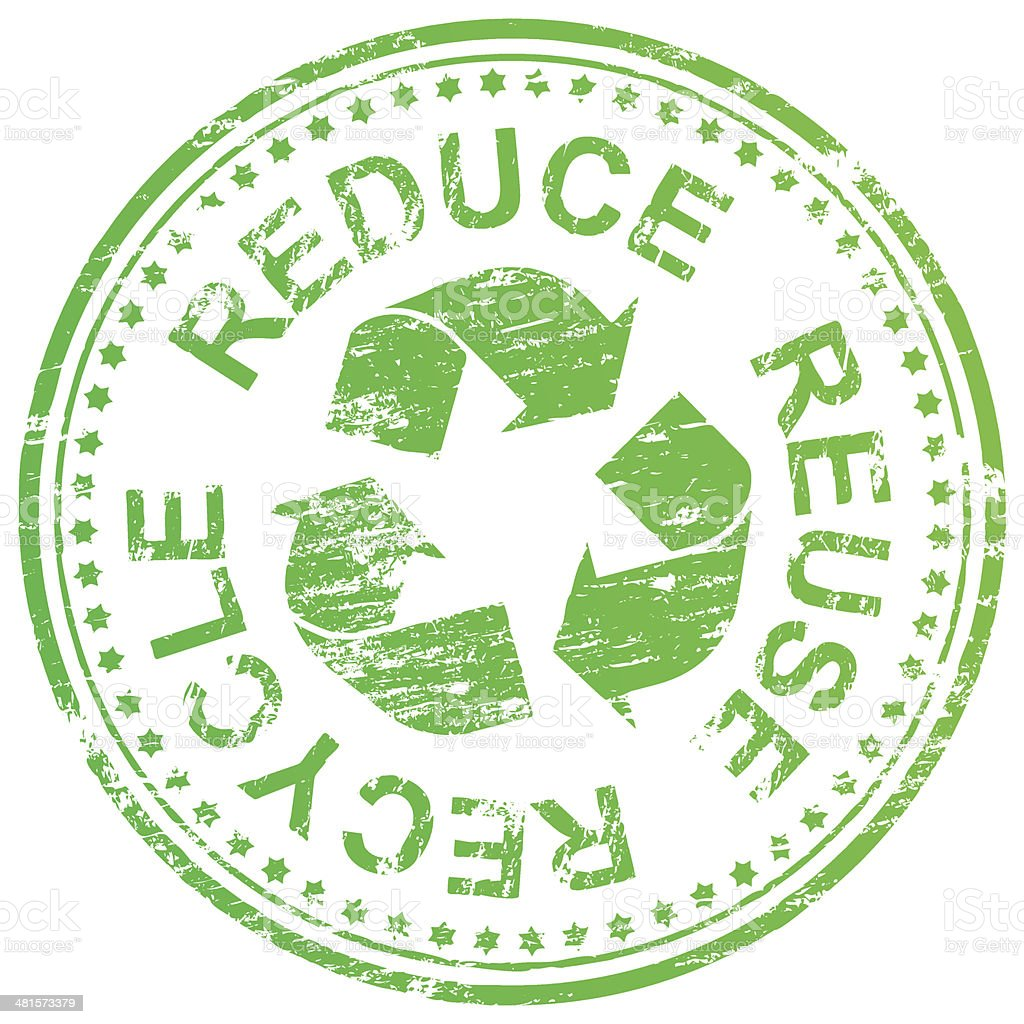 Reduce Reuse Recycle Stamp vector art illustration