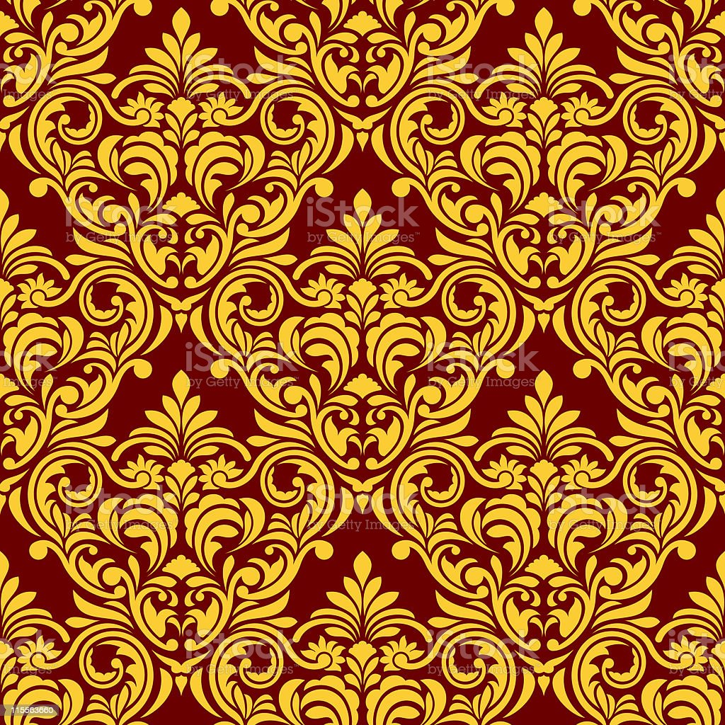 Red-yellow seamless wallpaper royalty-free stock vector art