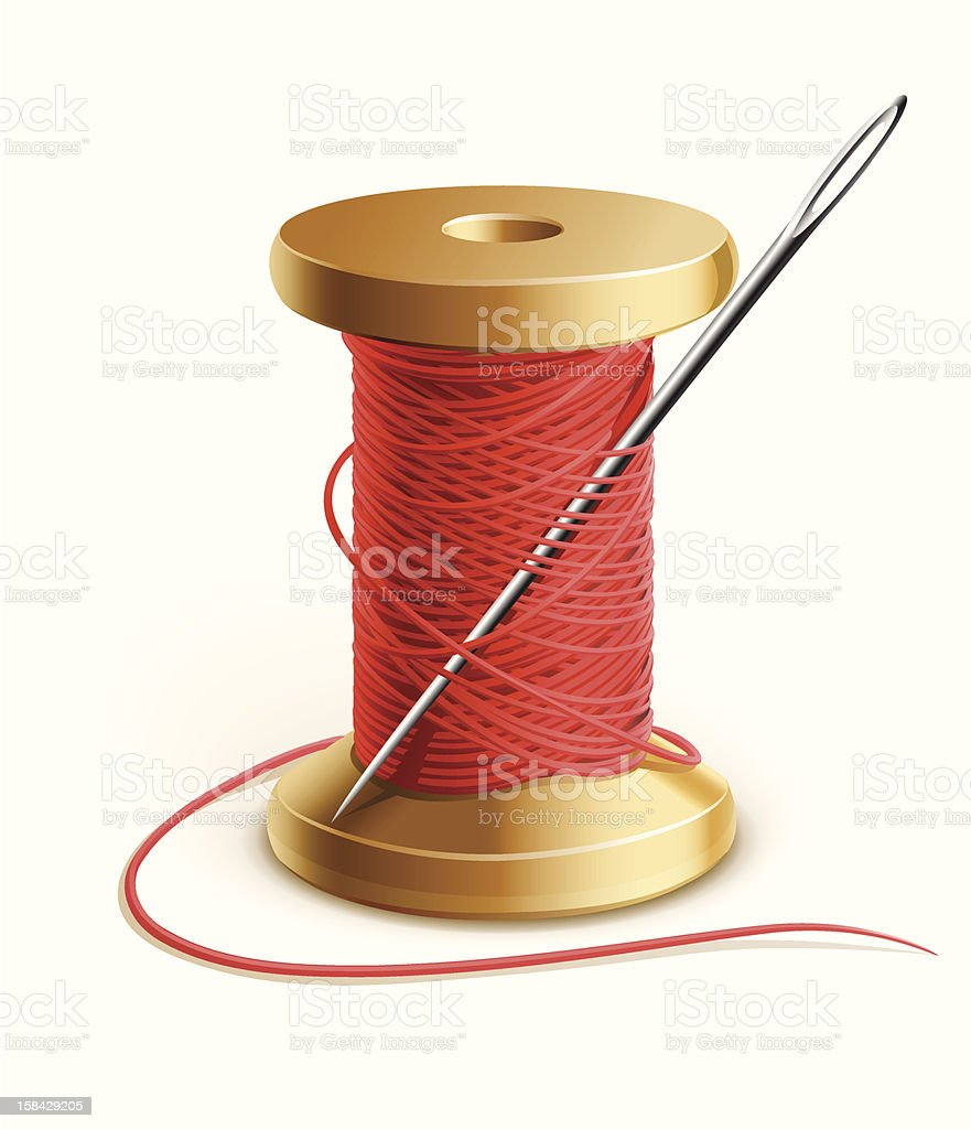 A reel of red sewing thread and a needle vector art illustration