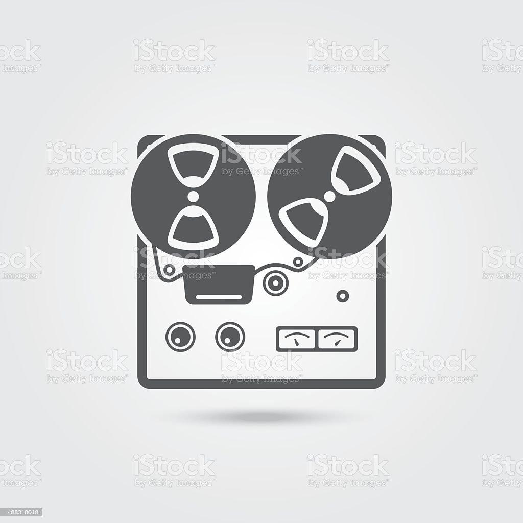 Reel tape recorder icon vector art illustration