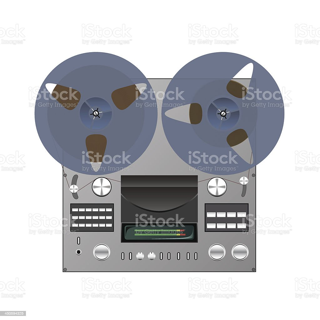 Reel tape recorder. royalty-free stock vector art
