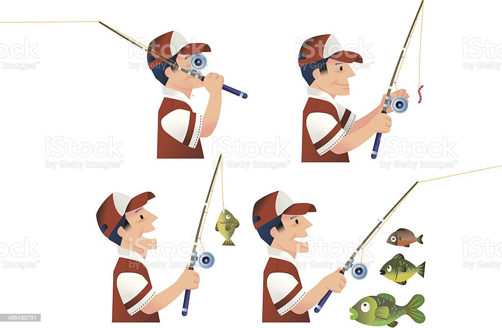 Reeling and Casting vector art illustration