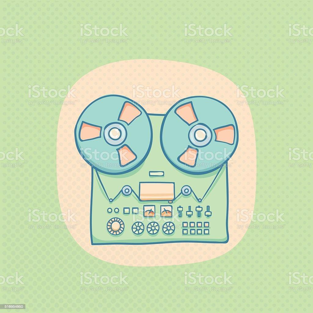 Reel-to-reel audio tape recorder vector art illustration