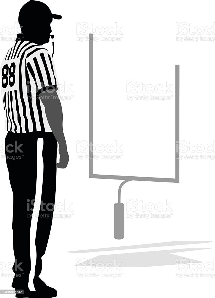 Referee Blowing The Whistle vector art illustration