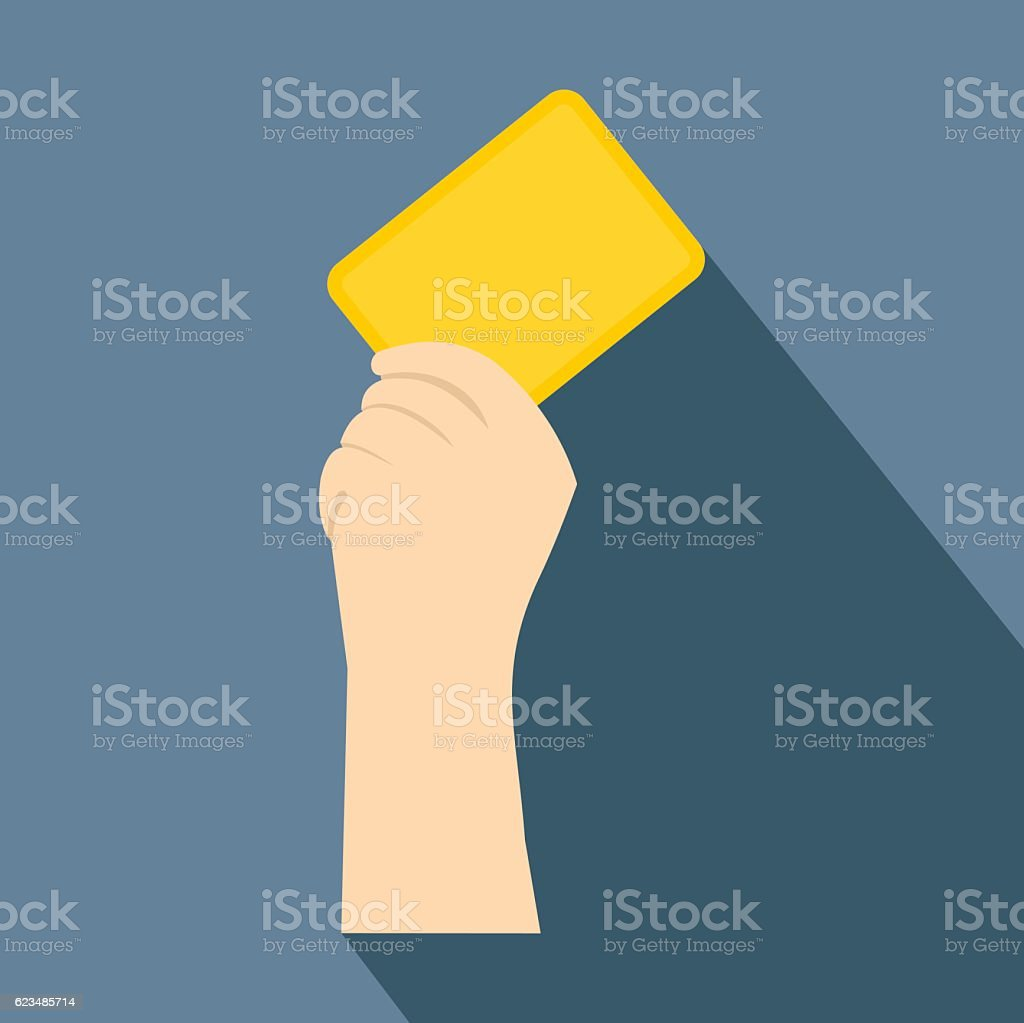 Referee showing yellow card flat icon vector art illustration