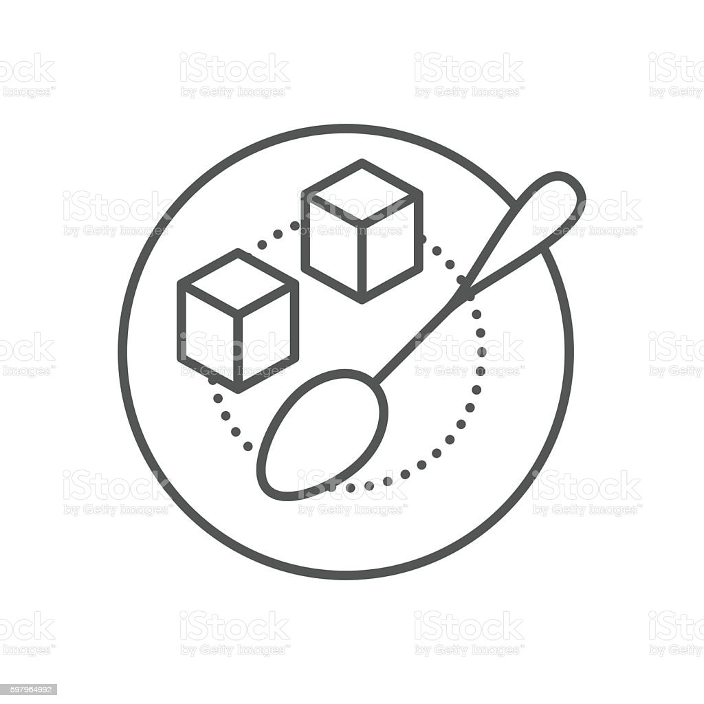 Refined sugar cubes and spoon on plate vector art illustration