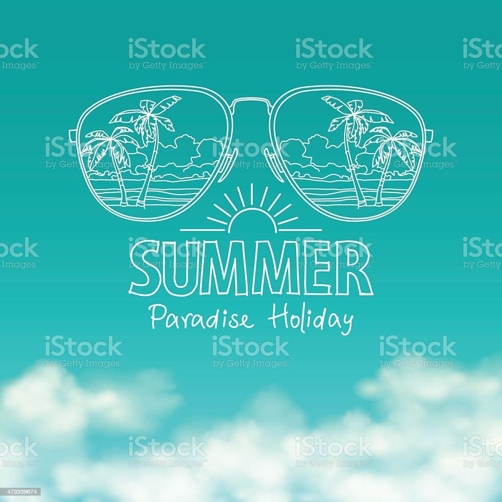 Reflexo da praia em óculos de sol, céu azul ensolarado vetor vetor e ilustração royalty-free royalty-free
