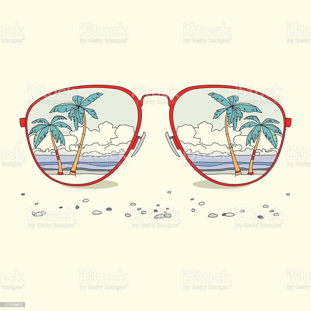 Reflexão de praia, palmeiras, praia em óculos de sol vetor e ilustração royalty-free royalty-free