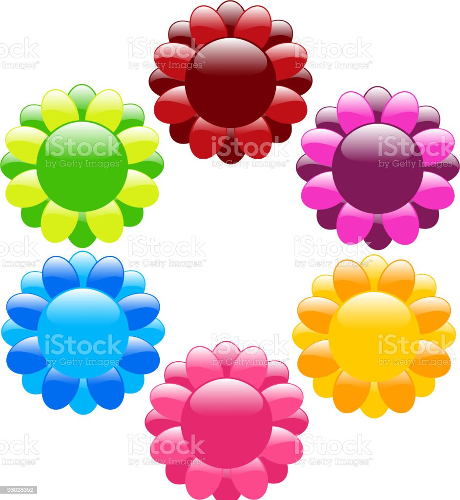 Reflective flower icons royalty-free stock vector art