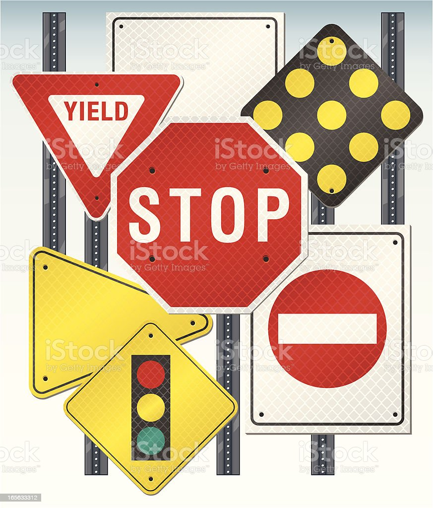 Reflective Road and Street Signs vector art illustration