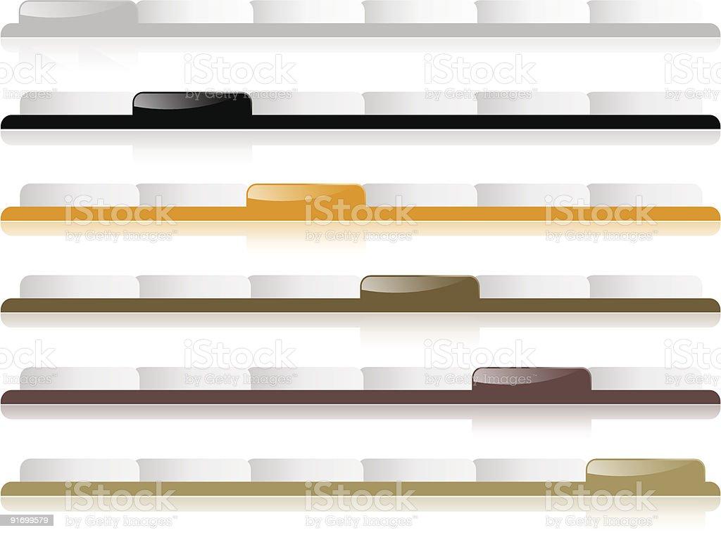 Reflective Website Navigation Tabs - Editable royalty-free stock vector art