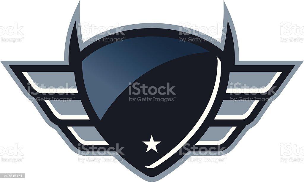 Reflective Winged Shield vector art illustration