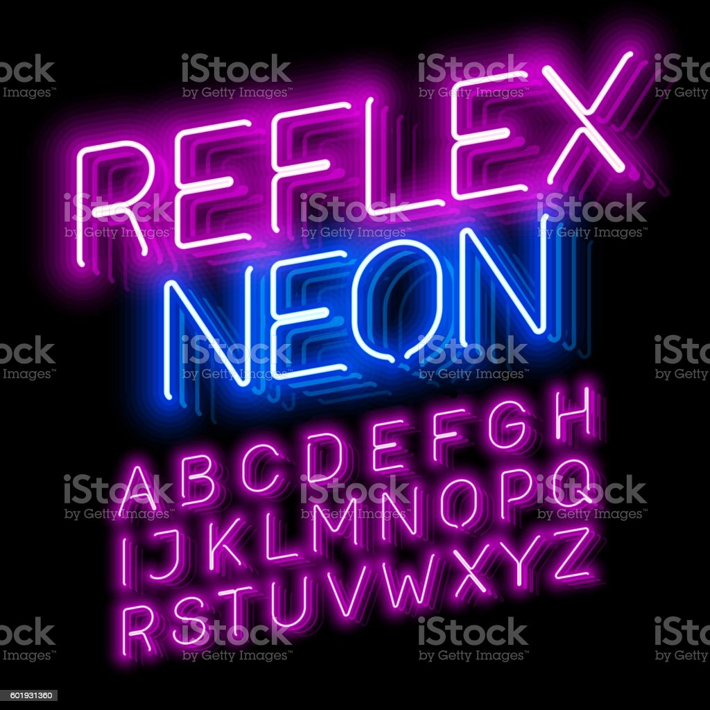 Reflex Neon font vector art illustration