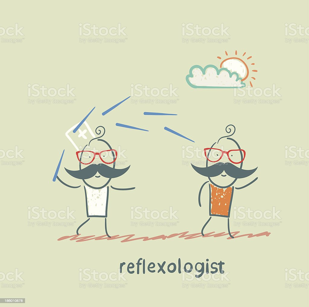 reflexologist works with a patient royalty-free stock vector art