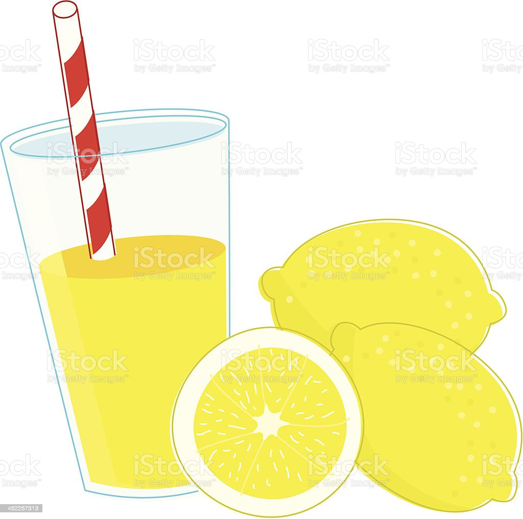 Refreshing Glass of Lemonade with Lemons vector art illustration