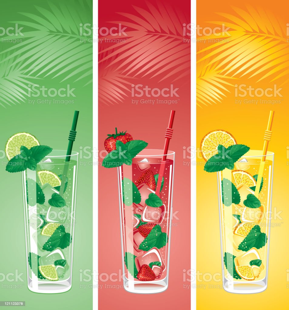Refreshing mojito cocktails vector art illustration