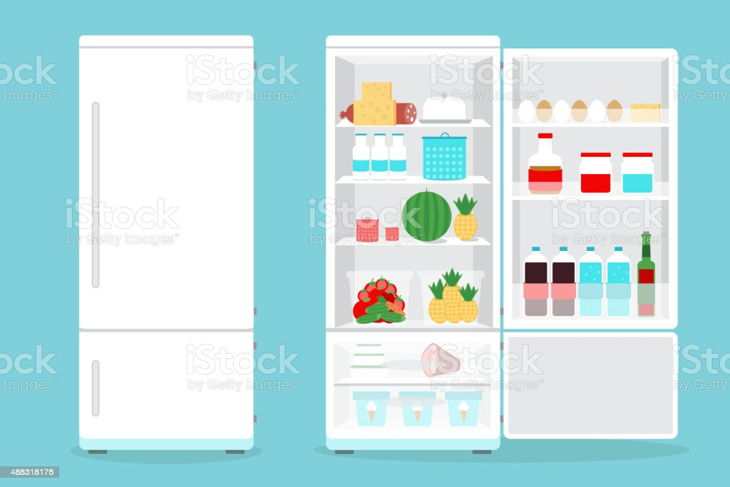 Refrigerator opened with food.Fridge Open and Closed with foods vector art illustration