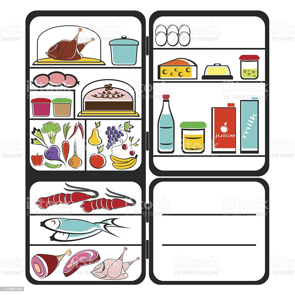 Refrigerator with food royalty-free stock vector art