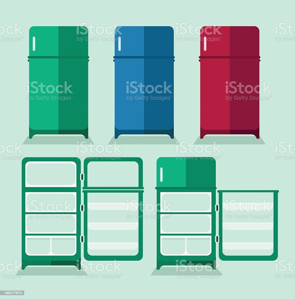 Refrigerator with the door closed and open vector art illustration