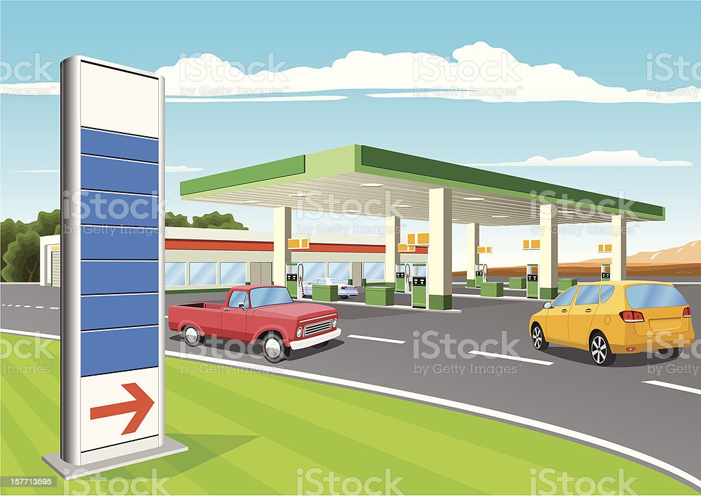 Refueling Station with Gas Prices Sign royalty-free stock vector art