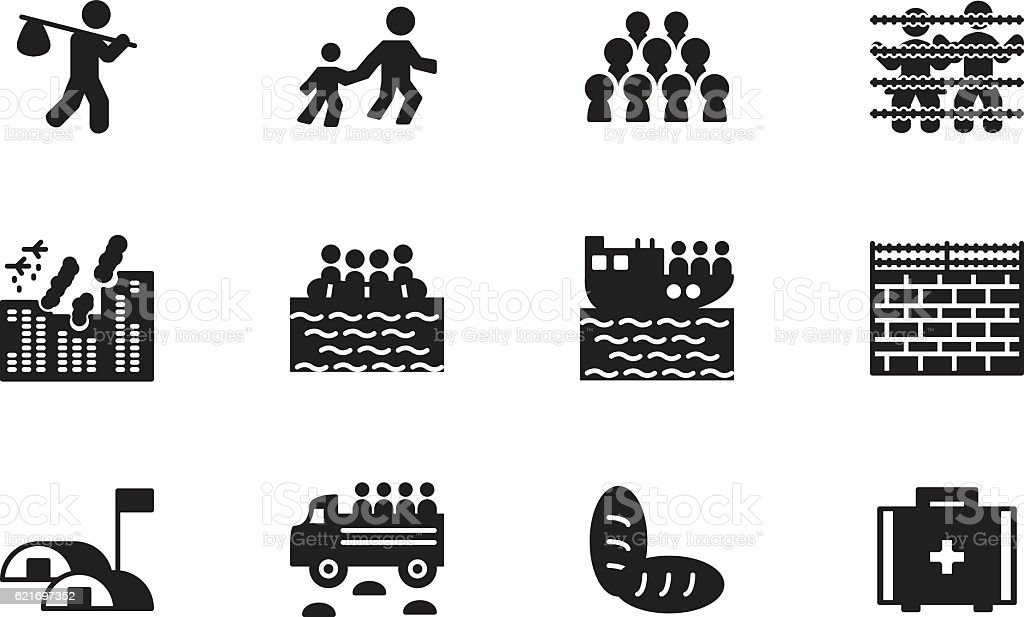 Refugee and migration icon set. Vector. vector art illustration
