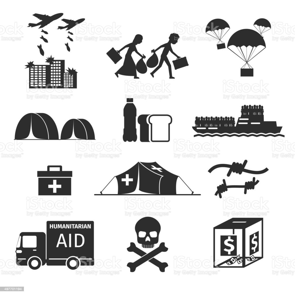 Refugees evacuee concept. War victims black icons set vector art illustration