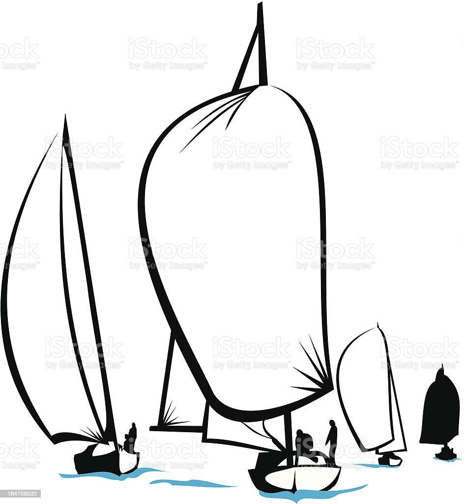 regatta - on the sea royalty-free stock vector art