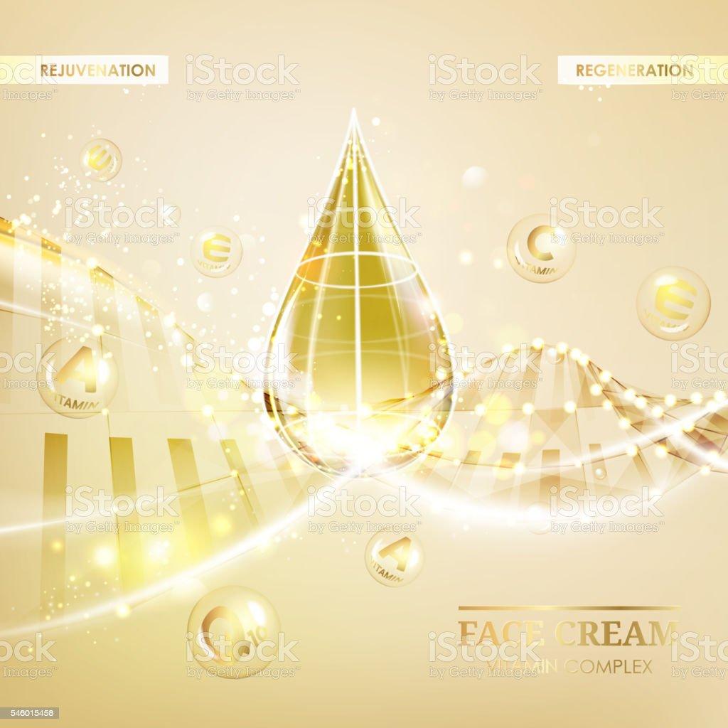 Regenerate cream and Vitamin. vector art illustration