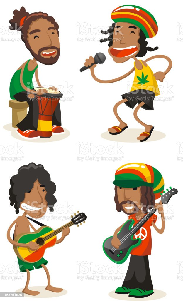 Reggae music band vector art illustration