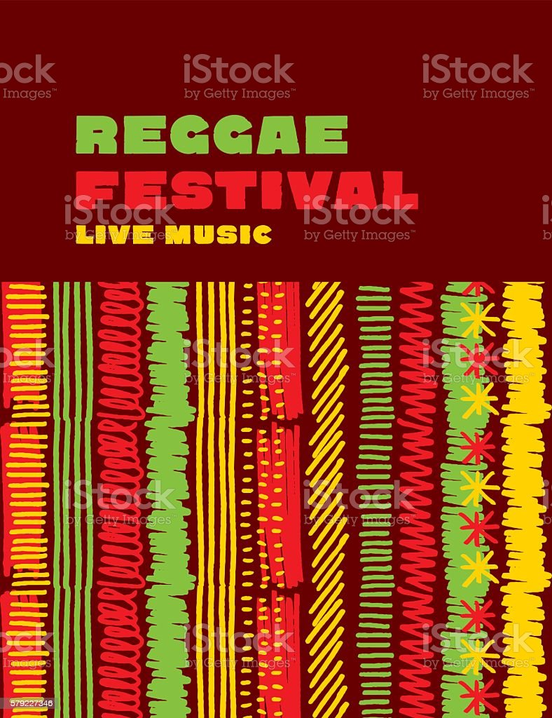 reggae music classic color background. Jamaica poster vector ill vector art illustration