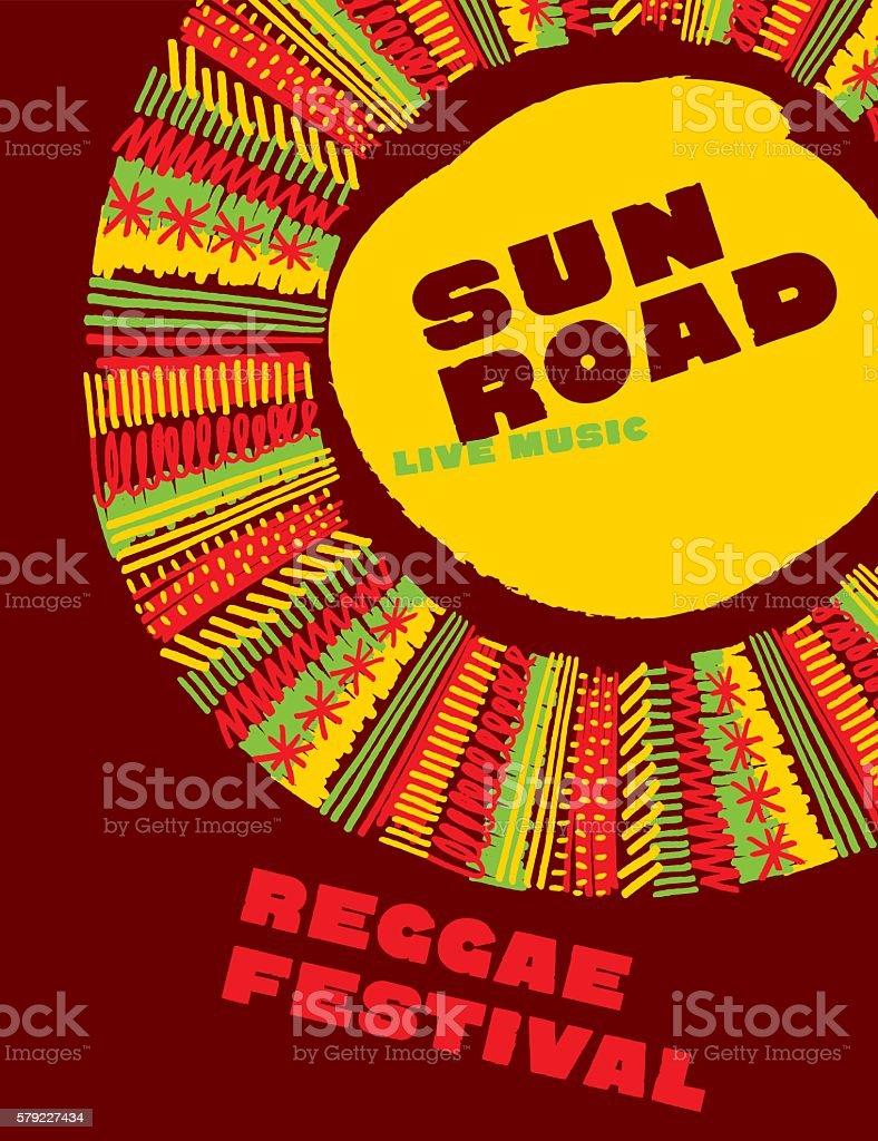 reggae music classic color concept poster. Jamaica style vector vector art illustration