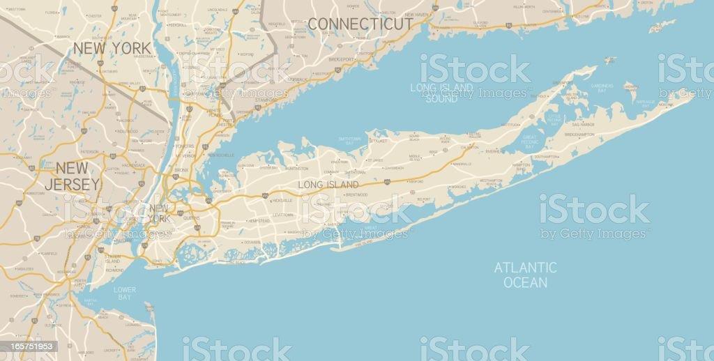 NYC Region and Long Island Map vector art illustration