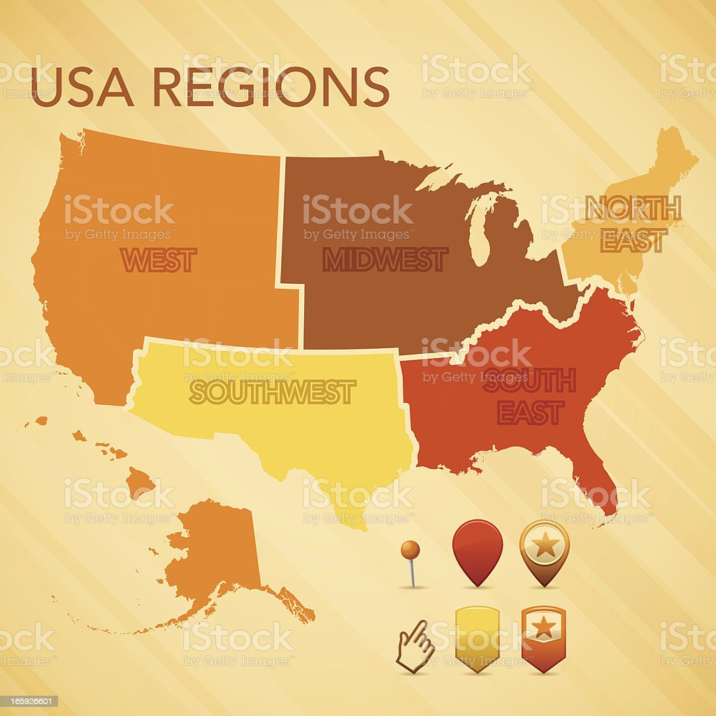 USA Region Map royalty-free stock vector art