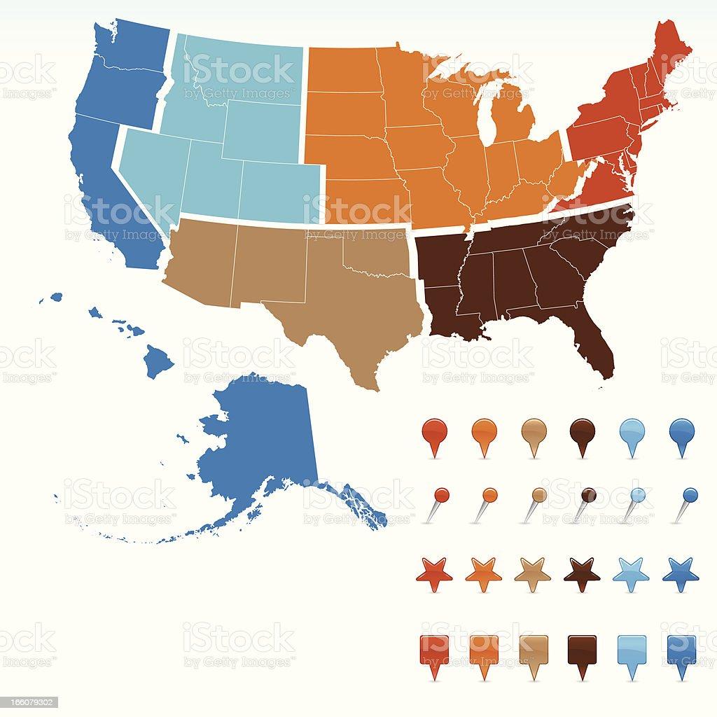 USA Region Map royalty-free stock vector art