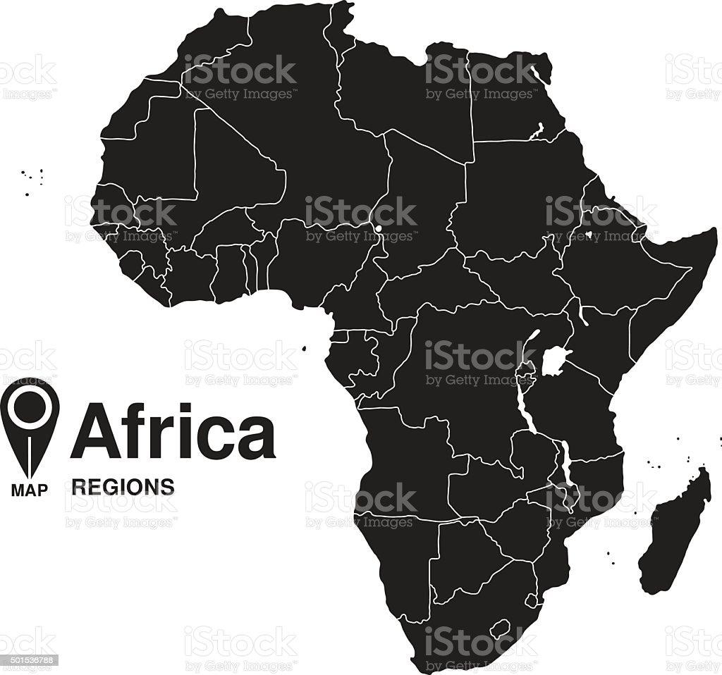 Regions map of Africa vector art illustration