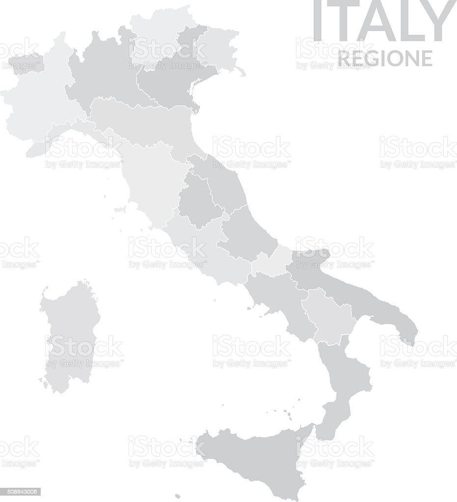 Regions map of Italy gray vector art illustration